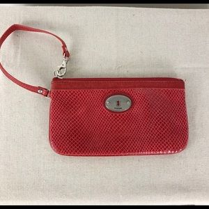 Fossil Diamond Textured Wristlet Wallet Red